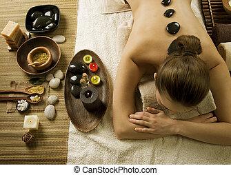 pierres, spa, woman., chaud, masage