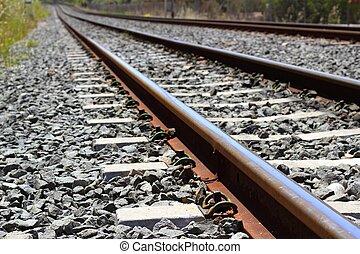 pierres, sur, détail, sombre, rouillé, train, fer, ferroviaire