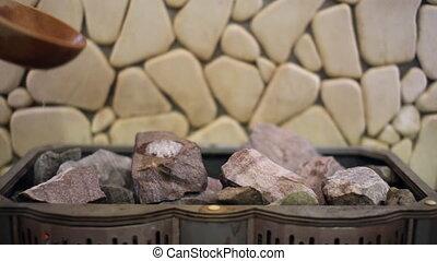 pierres, verse, eau, sauna