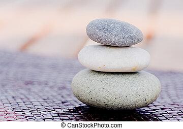 pierres, zen, empilé
