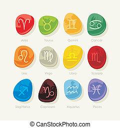 pierres, zodiaque, ensemble, signes