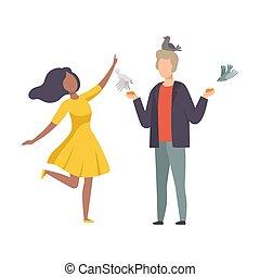 pigeons, alimentation, jeune, debout, main, couple, vecteur, illustration, anonyme, parc
