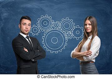 pignon bleu, femme affaires, travail, fond, équipe, homme affaires, roues