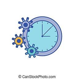 pignons, temps, montre, engrenage, horloge