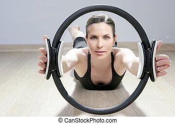 pilates, magie, gymnase, femme, aérobic, anneau, sport