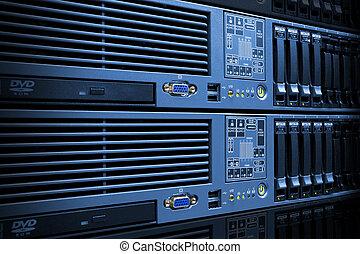 pile, étagère, disque, conduit, serveurs