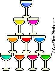 pile, boissons