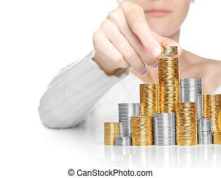 pile, concept, main, investissement, mettre, croissance, copy-space, monnaie, ou
