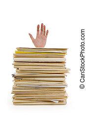 pile, fichier, main