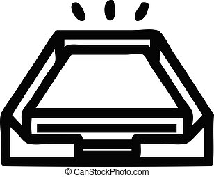 pile, papier, bas, bureau, icône