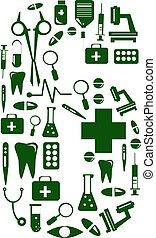 pills., fait, alphabet, monde médical, nombre, font., 6