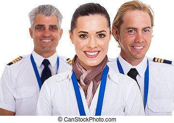 pilotes, serviteur, vol, debout, devant