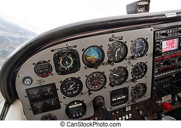 pilot's, instrument, complexe, petit avion, vue, panneau