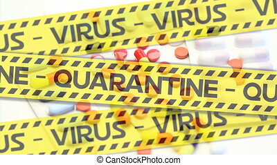 pilules, différent, animation, quarantaine, sur, virus, police, textes, bandes