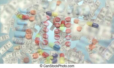 pilules, différent, arrière-plan animation, mensonge, flotter, sur, blanc, billets banque