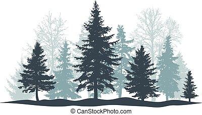 pin, forêt, vecteur, individu, arbre vert, isolated., objects., arbre, noël, séparé, hiver, illustration, arbre., parc
