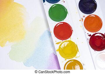 pinceaux, coups, peintures, sommet, aquarelle, blanc, vue, papier, palette, coloré, brosse