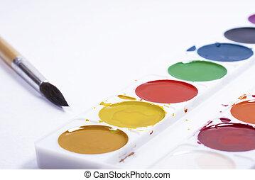 pinceaux, fond, sommet, blanc, vue, papier, palette