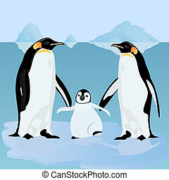 pingouins, floe glace