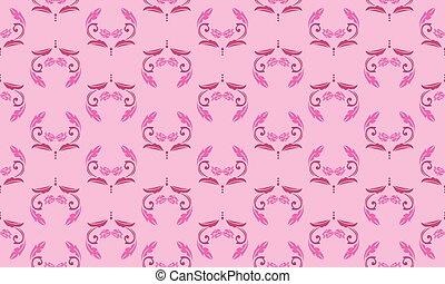 pink., magenta, rose, seamless, floral, couleur, modèle, doux