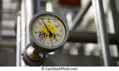 pipeline, indique, plante, manomètre, lait