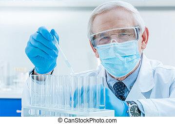 pipette, essai, laboratoire, personne agee, tubes, chimiste