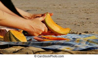 pique-nique, -, découpage, 4k, melon, rivière, plage