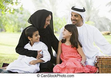 pique-nique, famille, focus), parc, dehors, (selective, sourire, avoir