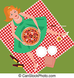 pique-nique, pizza