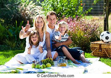 pique-nique, pouces, parc, avoir, haut, famille, heureux