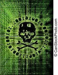 pirate informatique, attaque, concept, couverture, illustration