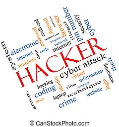 pirate informatique, incliné, concept, mot, nuage