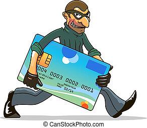 pirate informatique, voleur, crédit, voler, ou, carte
