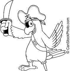 pirate, oiseau, dessin animé, blanc, perroquet, épée, caractère, noir