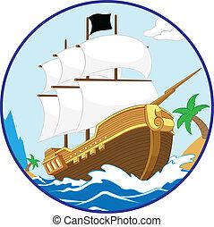 pirate, rivage, bateau