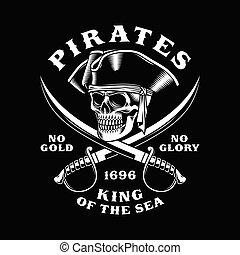 pirate, traversé, illustration, épées, crâne, vecteur