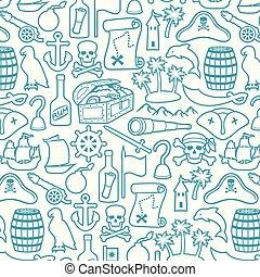 pirates, île, (sabre, foulard, bateau, ancre, crochet, vieux, palms), ensemble, crâne, longue-vue, ligne, gouvernail, mince, poitrine, rhum, canon, os, trésor, icônes, baril, carte, chapeau, montagne, triangle