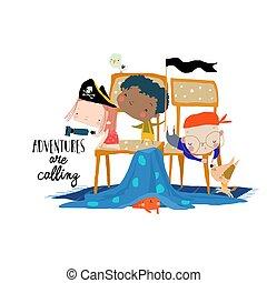 pirates, heureux, chaises, dessin animé, jouer, gosses