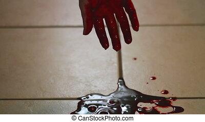 piscine, égouttement, main, sanguine