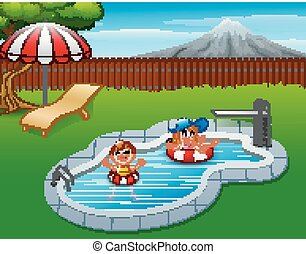 piscine, gonflable, gosses, flotter, anneau