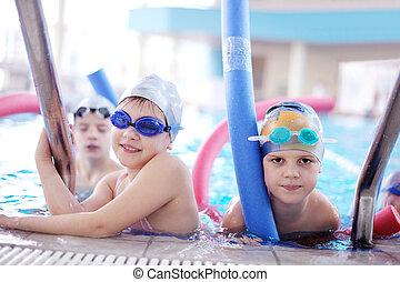 piscine, groupe, enfants, heureux