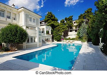 piscine, luxe, natation, villa