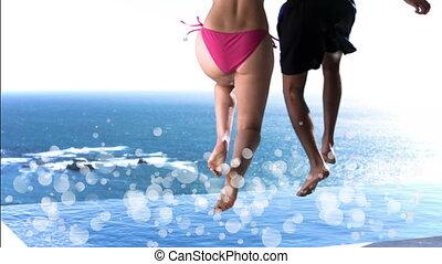 piscine, sauter, couple, bulles, natation, entouré, blanc, jeune