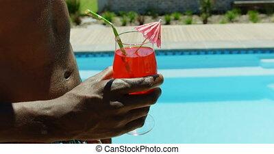 piscine, section, natation, mi, cocktail, tenue, homme, 4k, boisson