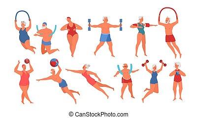 piscine, vieux, equipment., exercice, natation, gens, ensemble
