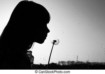pissenlits, girl, silhouette