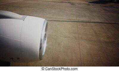 piste, aéroport, avion, turbine, cabine, vue