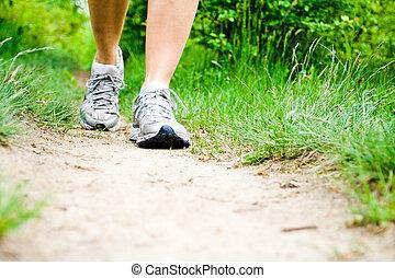 piste, marche, femme, forêt