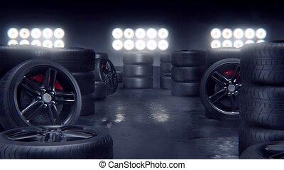 piste, pneus, course, sport