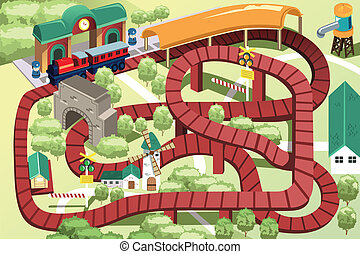 piste, train miniature, jouet
